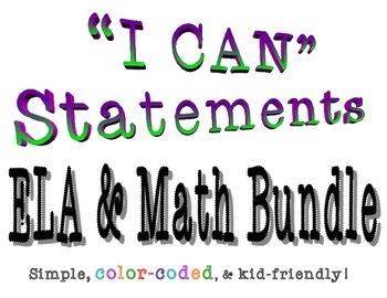 "Fourth Grade Common Core ""I CAN"" Statements Math & ELA Bundle"