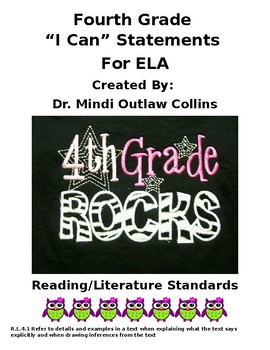 Fourth Grade ELA Standards and I Can Statements