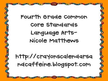 Fourth Grade ELL Common Core Standards Orange background doodle font