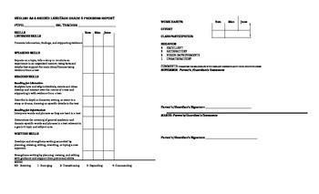 Fourth Grade ESL Progress Report Card