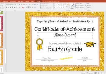 Fourth Grade Editable Graduation Certificates - Glitter Borders