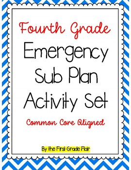 Fourth Grade Emergency Sub Plan Packet (17 pages!)
