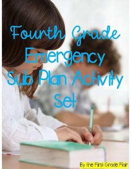Fourth Grade Emergency Sub Plan Worksheet Set *NO Prep*