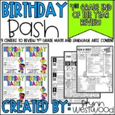 Fourth Grade End of Year Review Centers with a Birthday Theme
