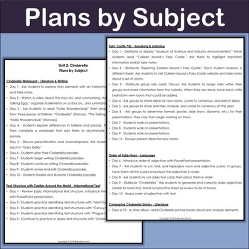 Cinderella Lesson Plans - Two Weeks of Balanced ELA Plans for Fourth Grade