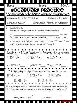 Fourth Grade Envision Math 2.0 Topic 6 Print and Go!