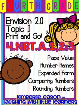 Fourth Grade Envision Math 2.0 Topics 1 and 2 Print and Go!