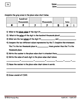 Fourth Grade Essential Spiral Math Homework - First Week Only