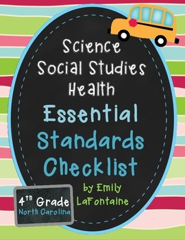 Fourth Grade Essential Standards Checklist - Science, Social Studies, and Health