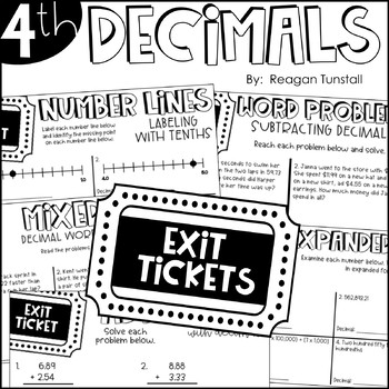 Fourth Grade Exit Tickets Decimals