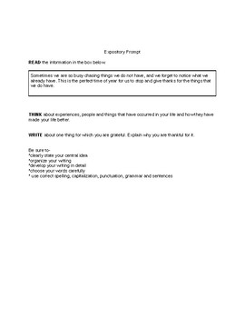 Fourth Grade Expository Prompts