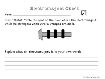 Fourth Grade FOSS Science Electromagnet Exit Slip