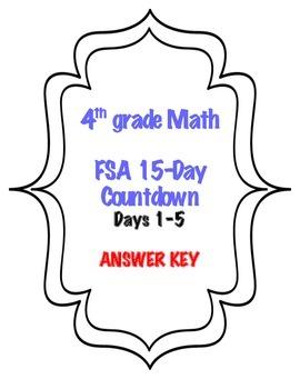 Fourth Grade FSA Math 15 Day Countdown BUNDLE!!!