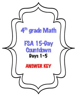 Fourth Grade FSA Math 15 Day Countdown Days 1-5
