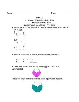 Fourth Grade FSA Math 15 Day Countdown Days 11-15