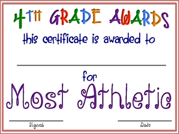 "Fourth Grade ""FUN"" Awards"