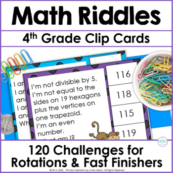 Fourth Grade & Fifth Grade Math Riddle Clip Cards for 1-100