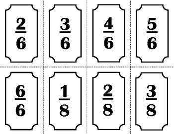 Fourth Grade Fraction Cards - 4.NF.1 and 4.NF.2