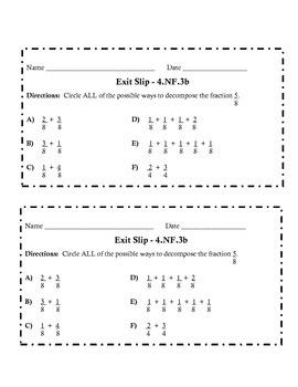 Fourth Grade Fraction Exit Slip Pack