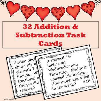 Adding, Subtracting, and Matching Fraction Task Cards