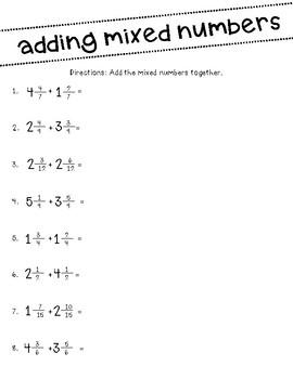 Fourth Grade Fraction Worksheets