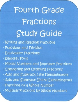 Fourth Grade Fractions Study Guide