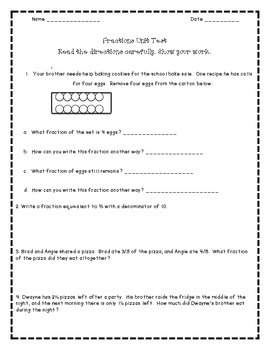 Fourth Grade Fractions Unit Test with Study Guide * Common Core