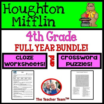 Houghton Mifflin 4th Grade Full Year Cloze Worksheets and