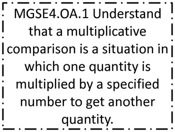Fourth Grade GSE (Georgia Standards of Excellence) Standards Posters Mathematics