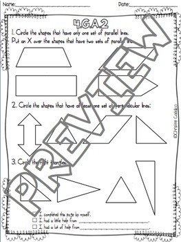 Math Assessments - Fourth Grade Geometry