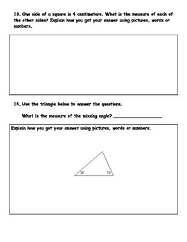 Fourth Grade Geometry Post Assessment