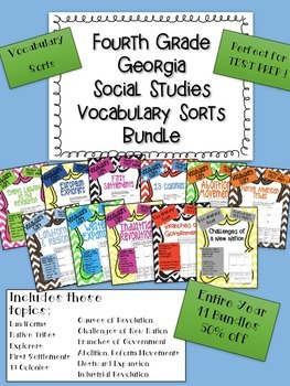 Yearlong Social Studies Vocabulary Sort Bundle - American History