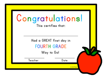 First Day of School Certificate - Fourth Grade / Grade Four