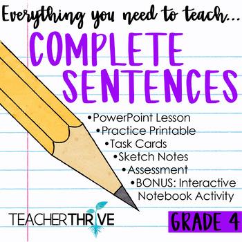 Fourth Grade Grammar and Language Unit on Complete Sentences