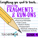 Fourth Grade Grammar and Language Unit on Correcting Fragm