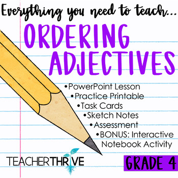 Fourth Grade Grammar and Language Unit on Ordering Adjectives