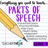 Fourth Grade Grammar and Language Unit on Parts of Speech
