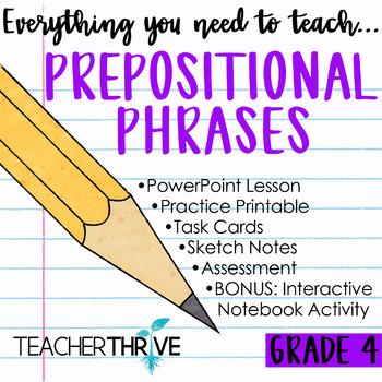Fourth Grade Grammar and Language Unit on Prepositional Phrases