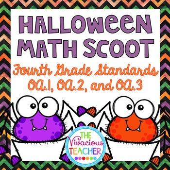 Fourth Grade Halloween Math Scoot 4.OA.A.1, 4.OA.A.2, 4.OA.A.3