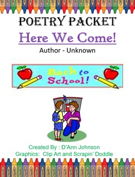 Fourth Grade Here We Come - Poetry Packet