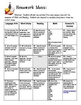 Fourth Grade Homework Menu:  Common Core Aligned