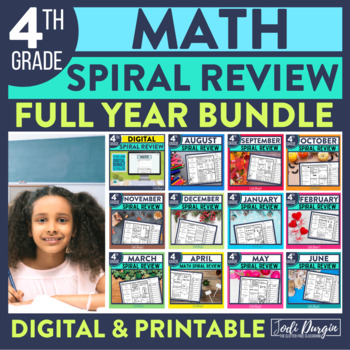 4th Grade Math Worksheets Spiral Review Digital and Printable for Whole Year
