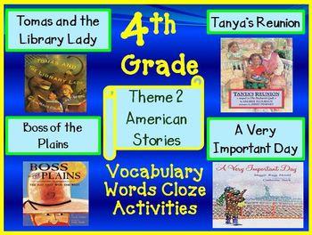 Houghton Mifflin Reading 4th Grade Theme 2 Cloze Worksheets