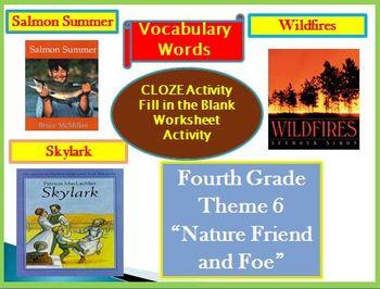 Hougton Mifflin Reading 4th Grade Theme 6 Cloze Worksheets