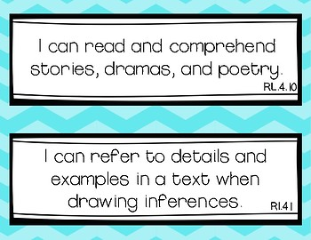 "Fourth Grade ""I Can"" Common Core Standard Chevron Displays"