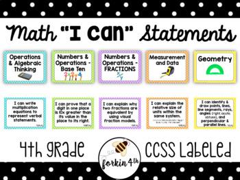 Fourth Grade I Can Statements BUNDLE! (All Math & ELA) - CCSS