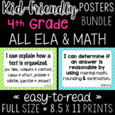 Fourth Grade I Can Statements BUNDLE! (All Math & ELA) - CCSS
