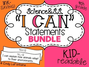 Fourth Grade I Can Statements BUNDLE (Science and Social Studies)