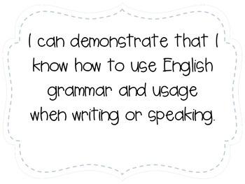 "Fourth Grade ""I Can"" Statements LAFS & Common Core Language Plain"