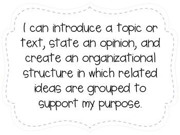 "Fourth Grade ""I Can"" Statements LAFS & Common Core Writing Plain"